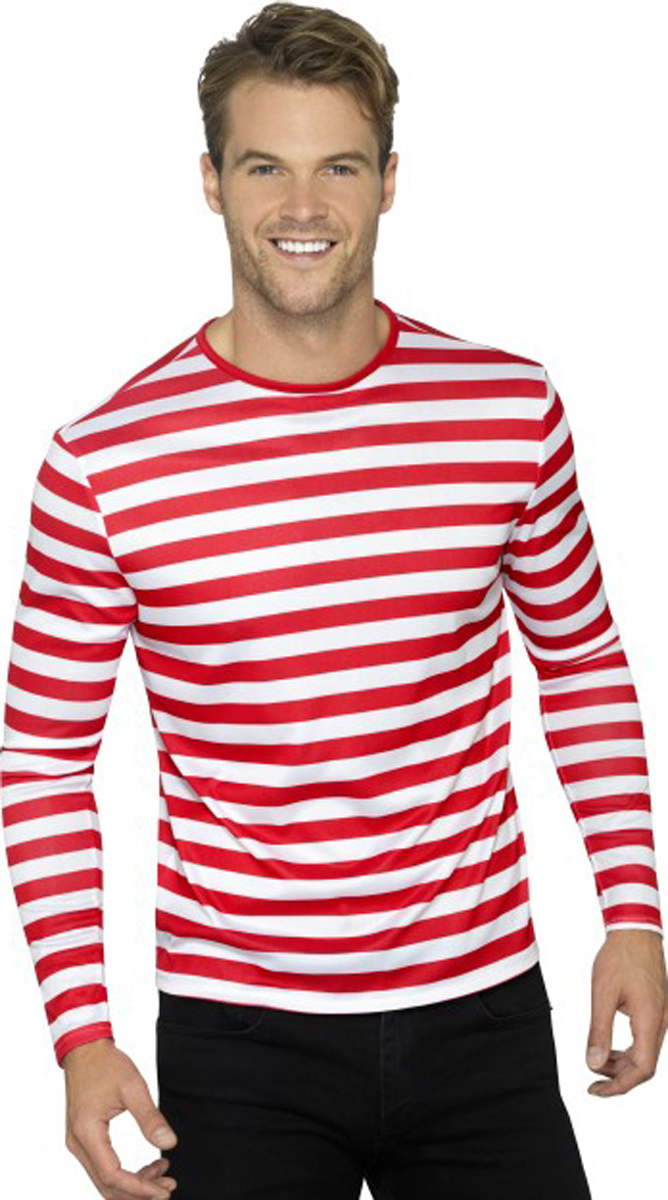Mens Fancy Dress Party Long Sleeves Crew Neck Tee Adults Stripy T-Shirt S-L