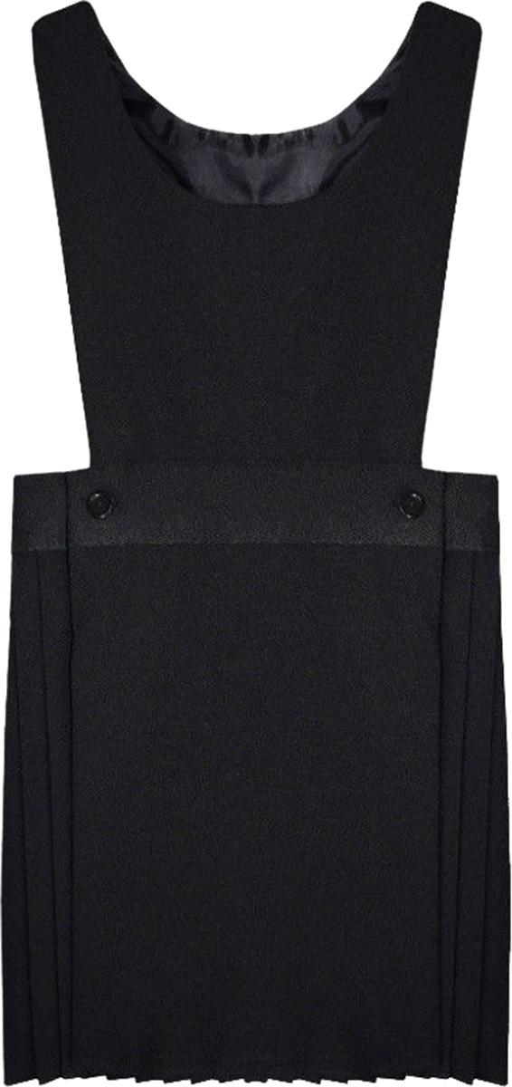 Pleated Bib Pinafore Dress Ages 2-16 Girls School Uniform Grey Black Navy Maroon