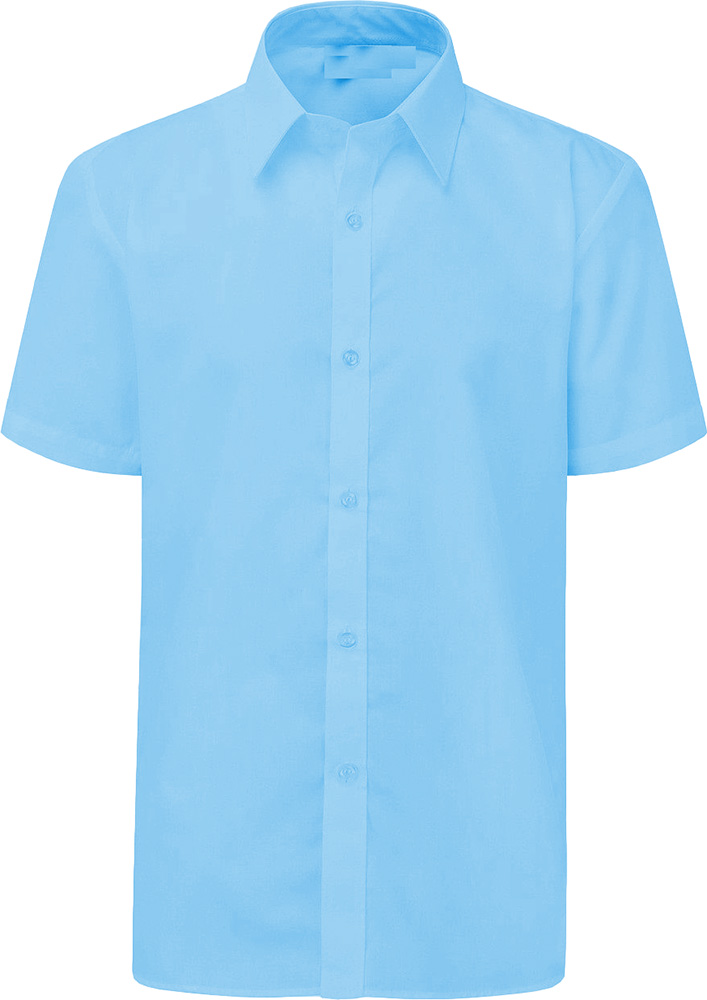 Boys School Shirt Uniform Short Sleeve White Sky Blue Age
