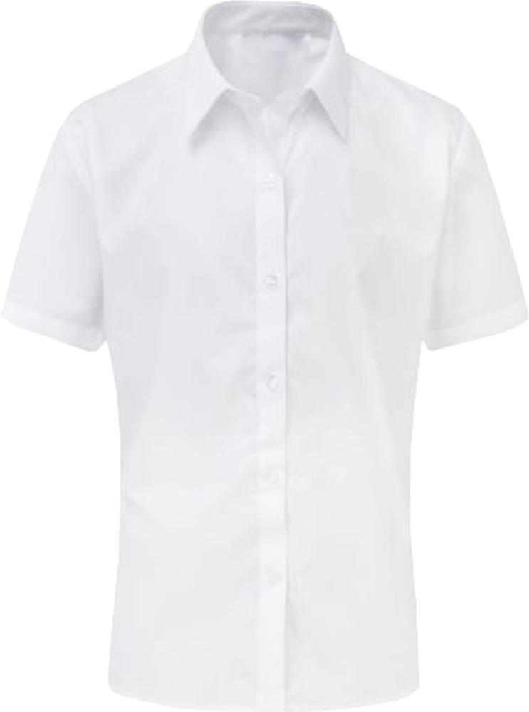 Girls Short Sleeve Blouse Shirt Twin Pack School Uniform White Sky Blue