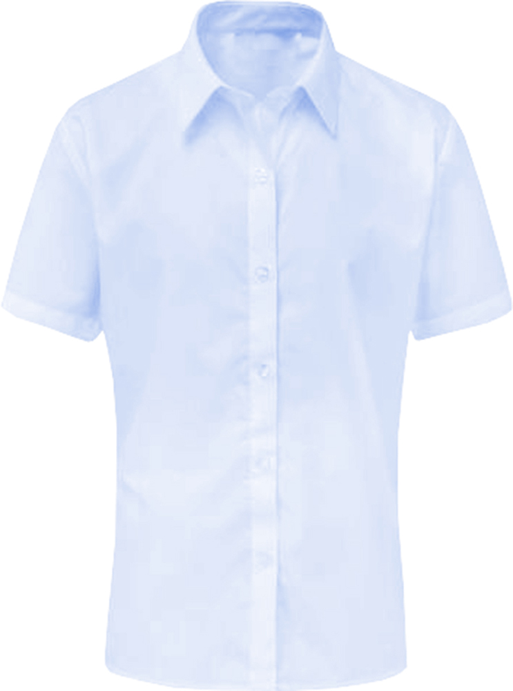 Girls School Shirt Uniform Short Sleeve White Sky Blue