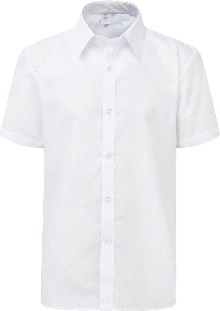 Boys School Shirt Uniform Short Sleeve White Sky Blue Twin Pack Age 2-18 Years