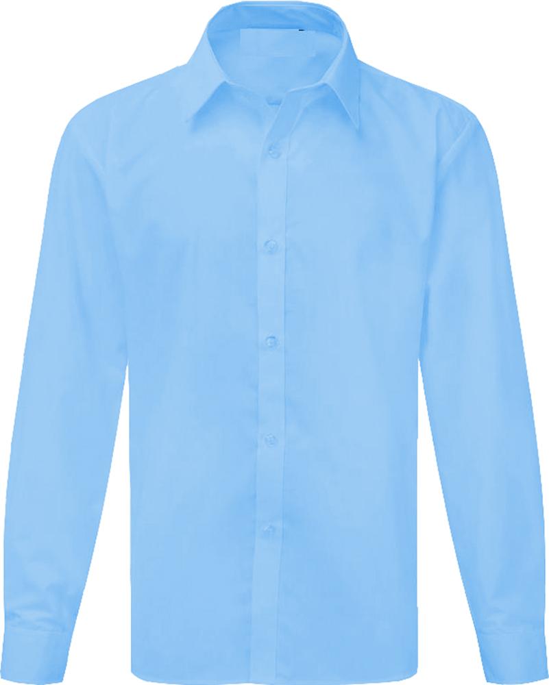 Boys Long Sleeve Shirt School Uniform White Sky Blue ***UK