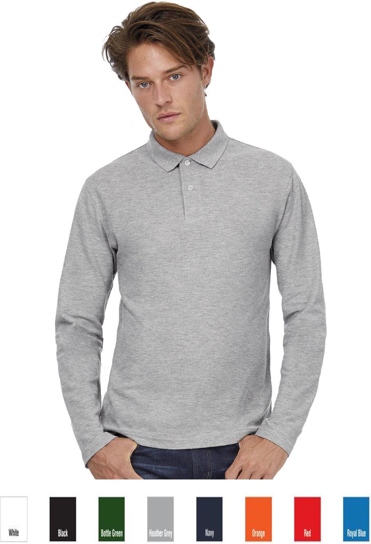 B/&C ID.001 Mens Long Sleeve Polo Shirt PUI12