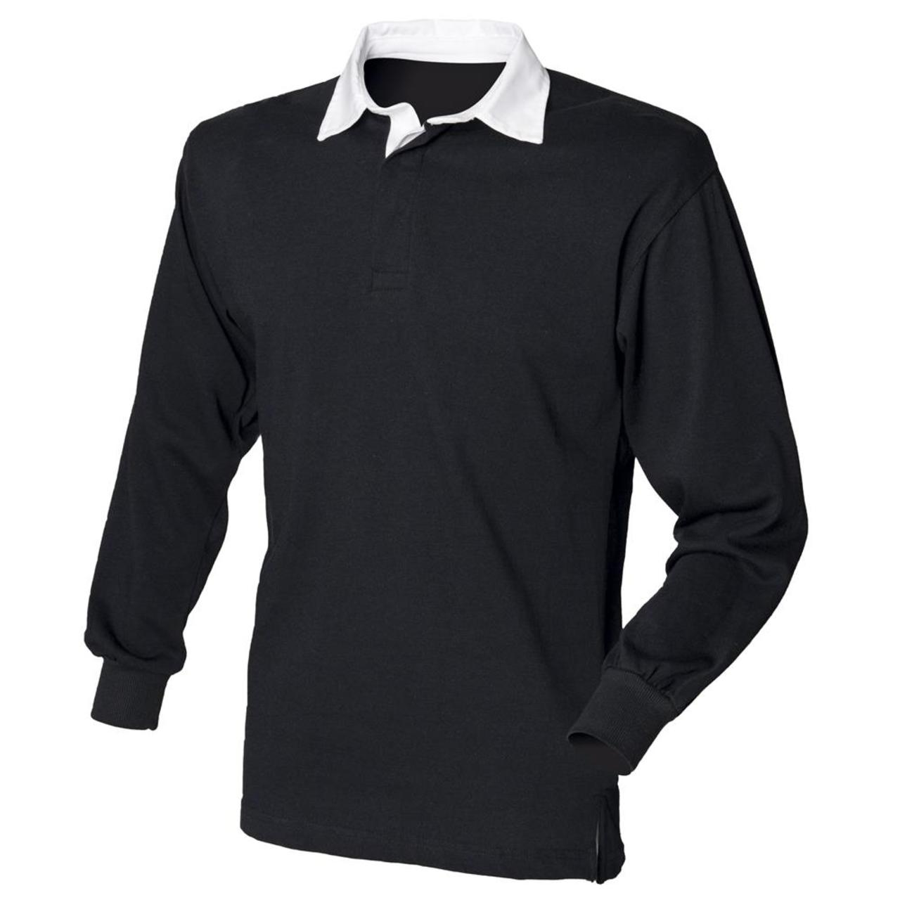Black t shirt with white collar - Front Row Long Sleeve Classic Rugby Shirt Mens