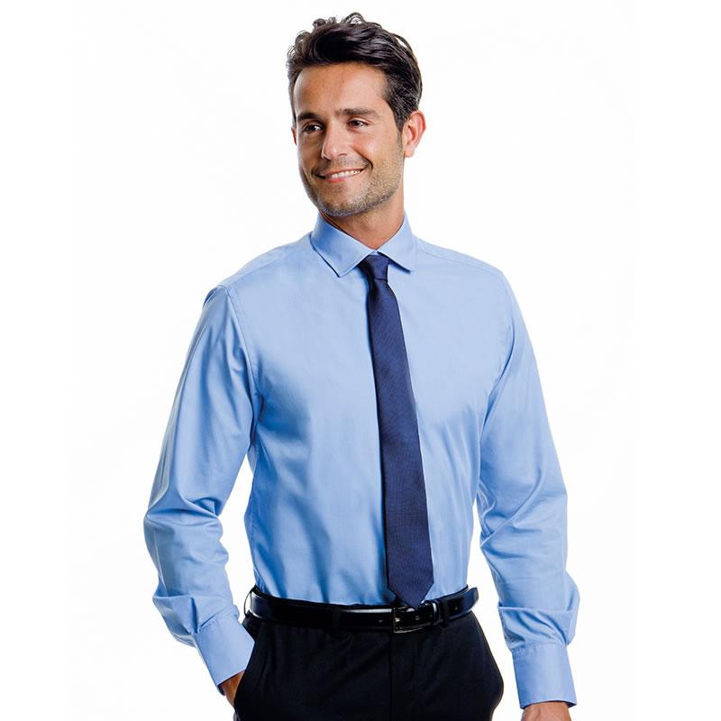 Kustom kit mens tailored business shirt long sleeve formal for Tailored shirts for men