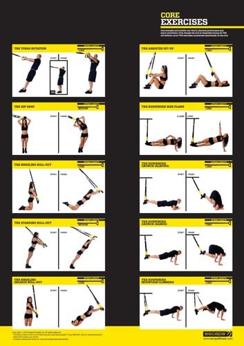 New trx exercise poster core home gym display info wall