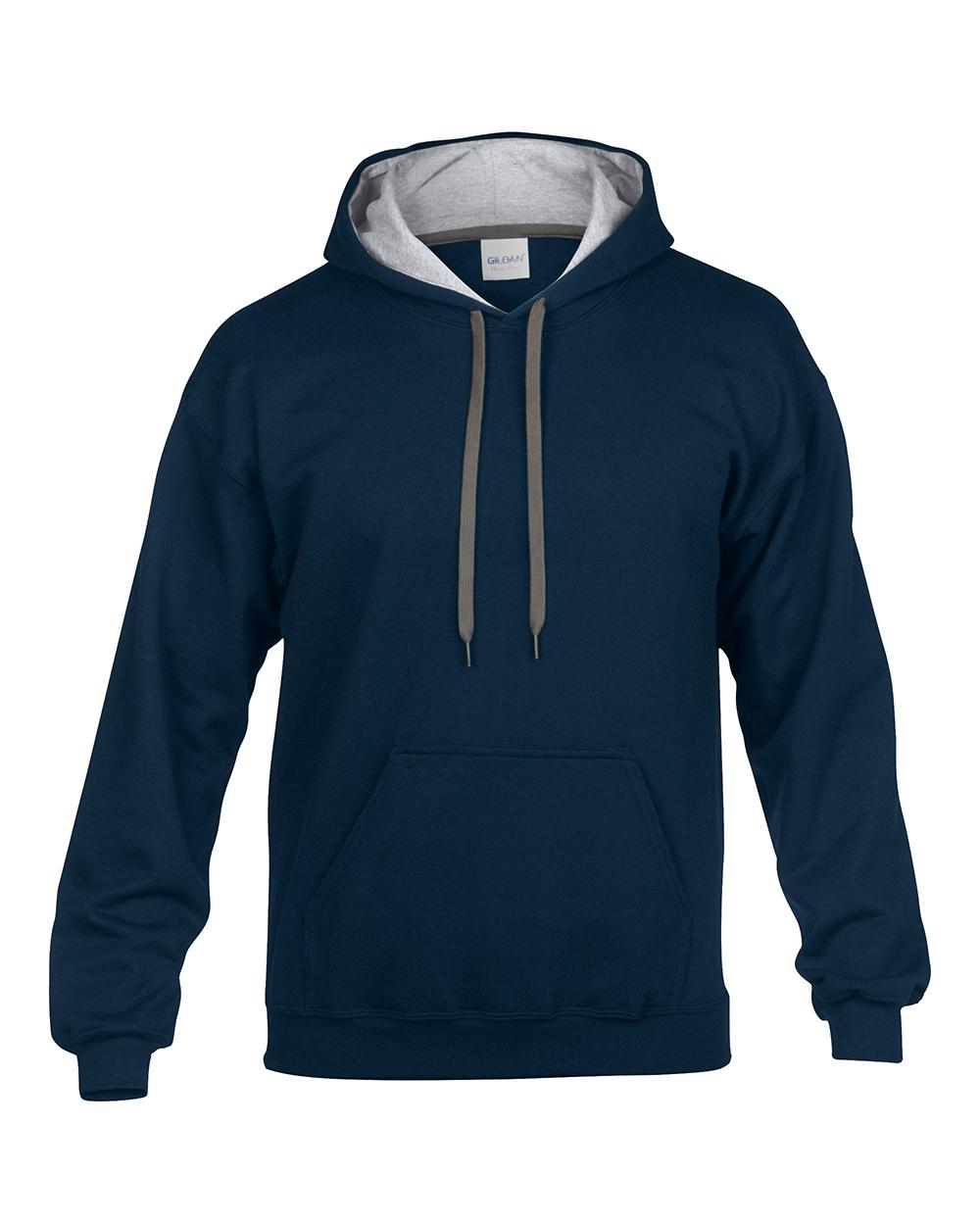 Gildan Heavy Blend Adult Contrast Hooded Sweatshirt Mens Plain ...