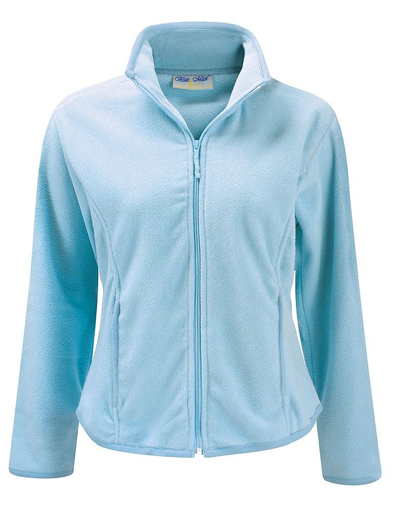 New Blue Max Ladies Microfleece Top Womens Full Front Zip Fitted ...