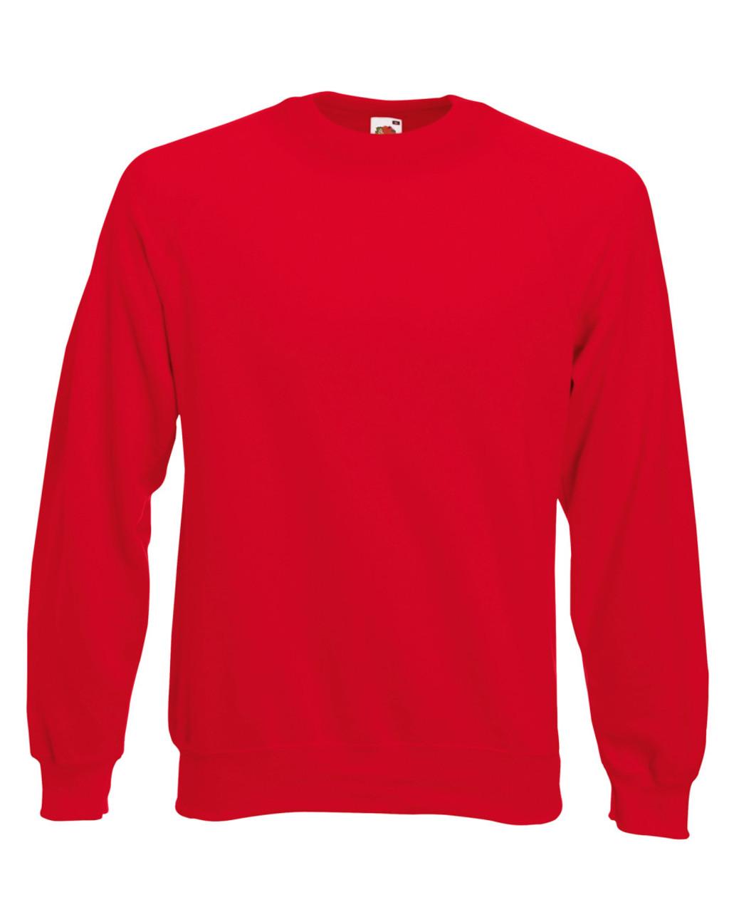 Fruit Of The Loom Men Classic Raglan Sleeve Sweatshirt Plain Work Sweater Jumper