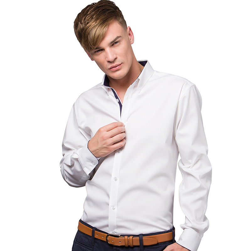 Contrast premium oxford shirt button down collar long for Oxford long sleeve button down shirt