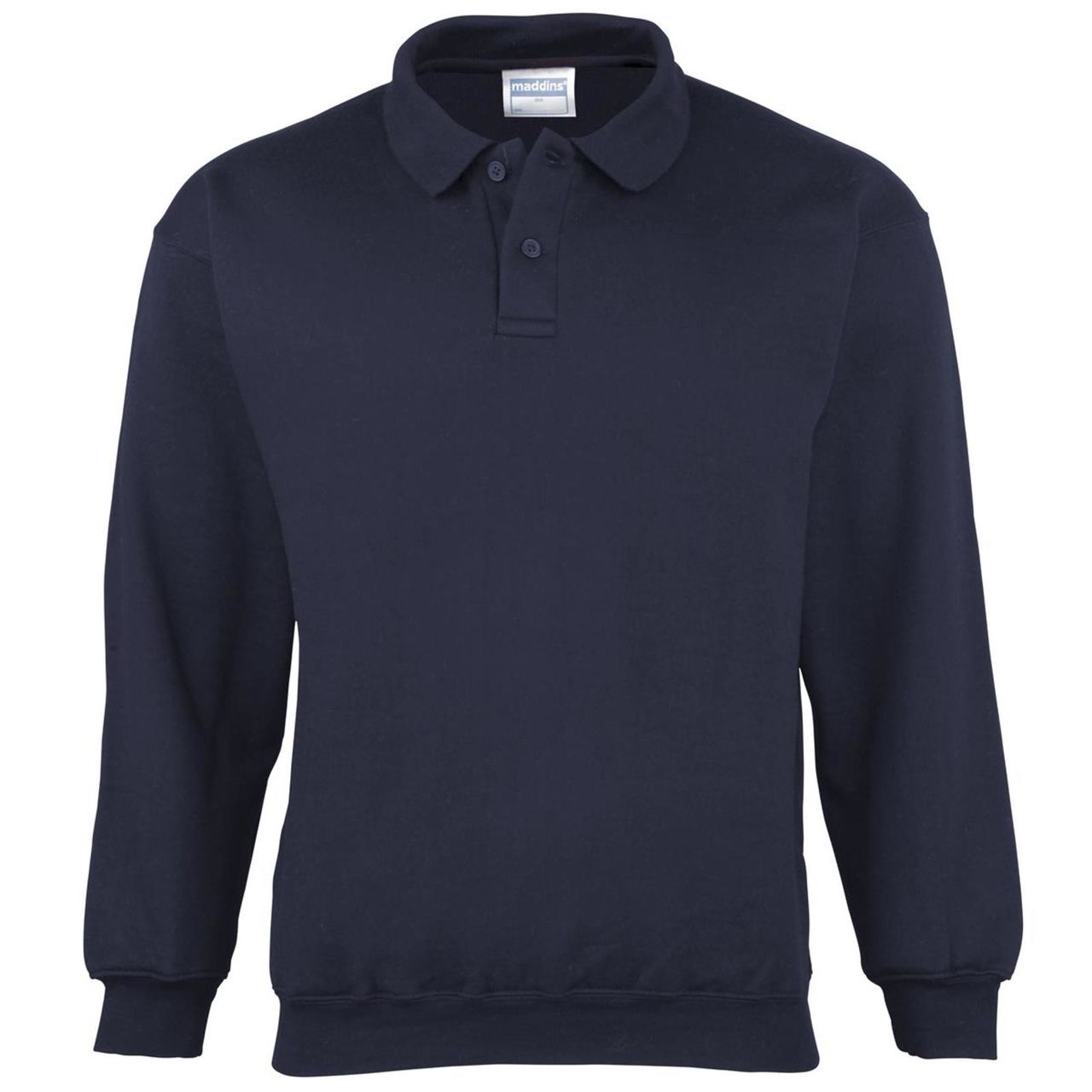 Maddins Coloursure Polo Long Sleeve T-Shirt Mens Plaquet Collared ...