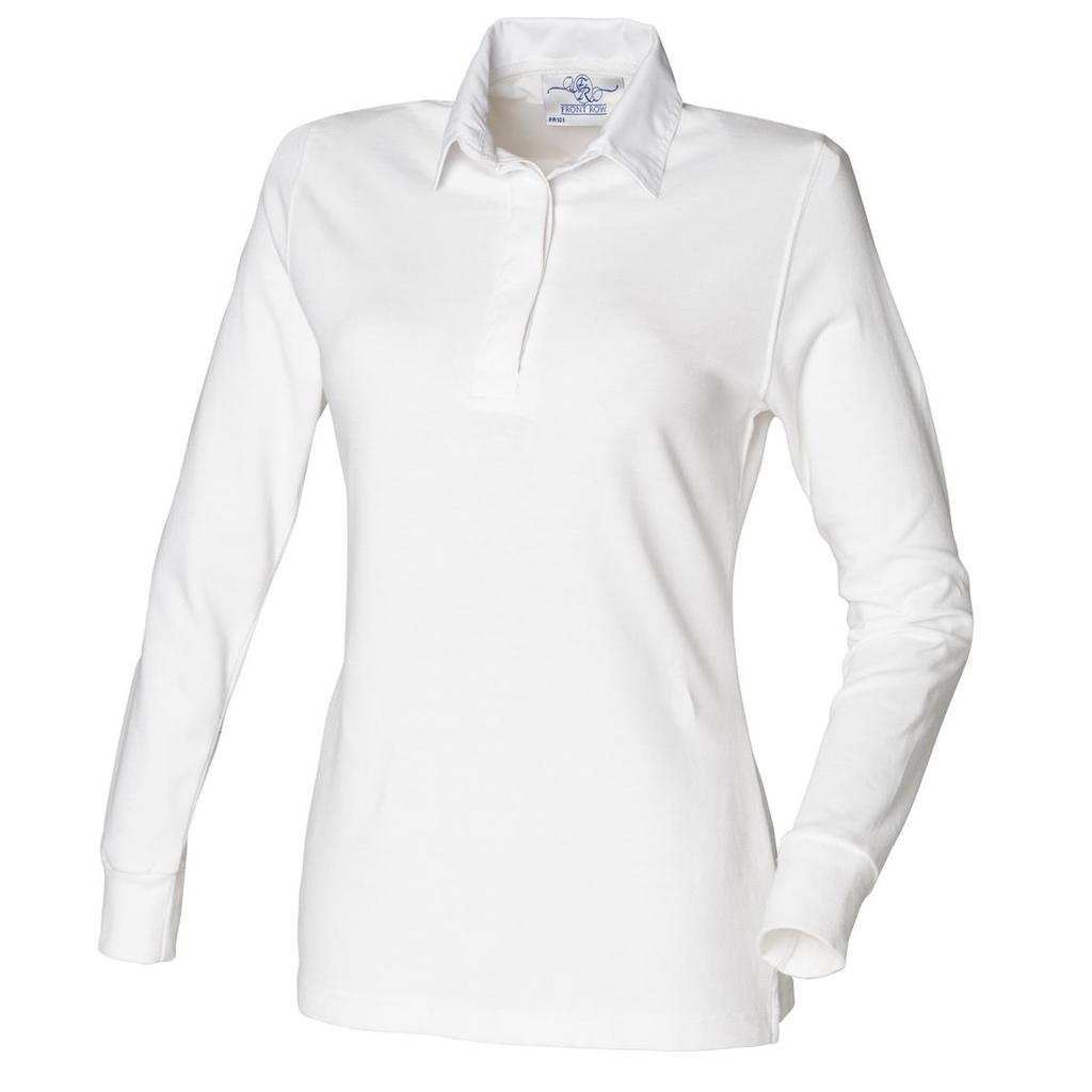 Ladies Long Sleeve Traditional White Collar Plain Rugby Shirt ...