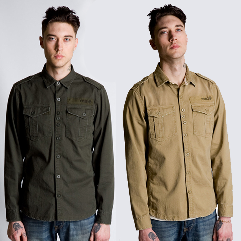 Mens fly 53 long sleeve button up collared military style for Mens military style long sleeve shirts
