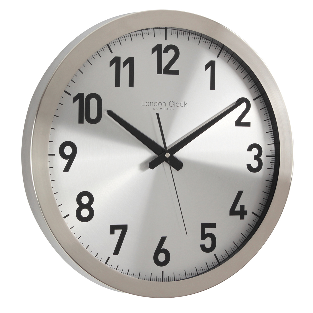 Large Brushed Metal Contemporary Wall Clock With Sweep