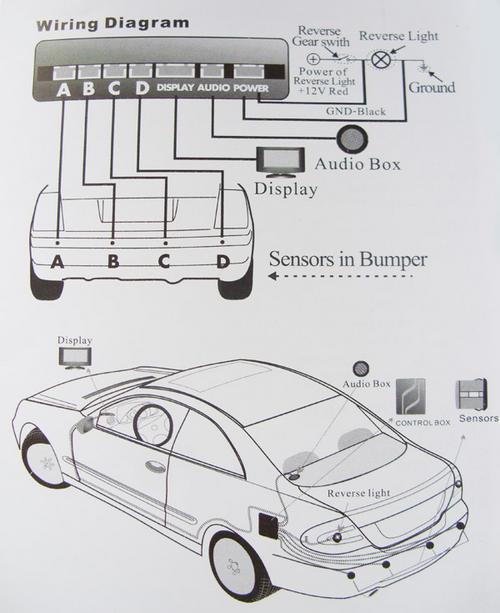 8 point front  rear parking reversing parking sensor kit