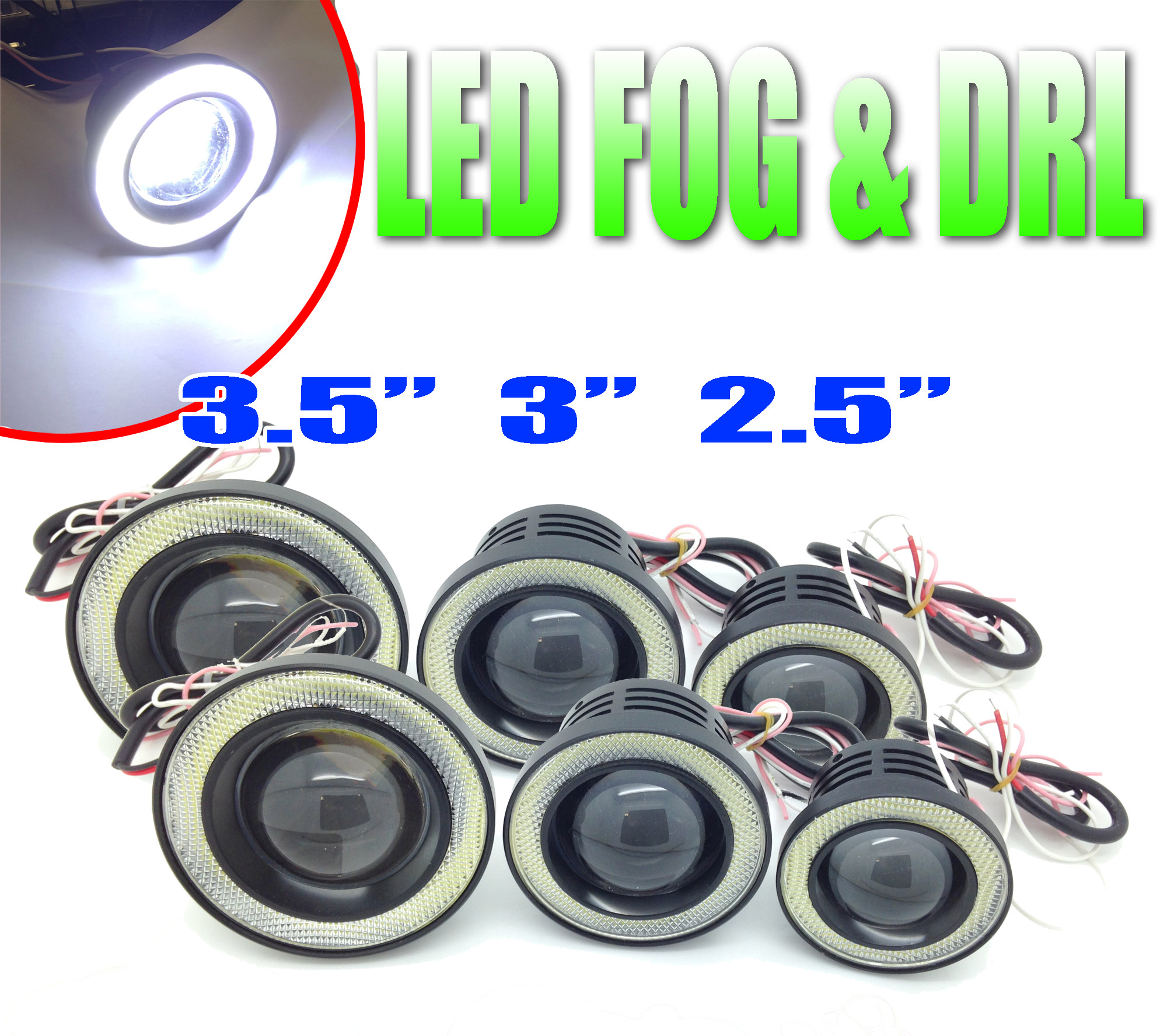 citroen ds3 projector cob led fog drl spot lights angel eyes pair. Black Bedroom Furniture Sets. Home Design Ideas