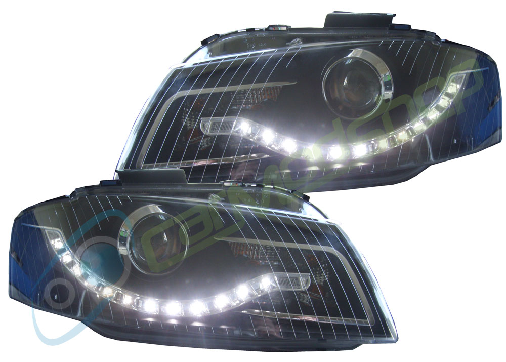 Eagle Eyes Rhd Projector Headlights Headlamps LED DRL Black Audi A3 2003-2008 8P Preview