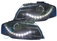 View Item AUDI A3 2003-2008 8P BLACK DRL LED PROJECTOR HEADLIGHTS RHD