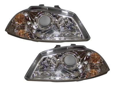 View Item SEAT IBIZA and CORDOBA 03-08 CHROME DRL PROJECTOR HEADLIGHTS