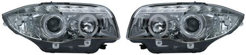 BMW 1 SER (07-12) HALO RING DRL HEADLIGHTS - CHROME [Image 2]