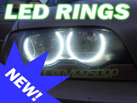 View Item BMW 3 SERIES E46 PROJECTOR(WITH XENONS) LED ANGEL EYE KIT 98-05 HALO RINGS