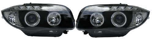 BMW 1 SER (07-12) HALO RING DRL HEADLIGHTS - Black [Image 2]