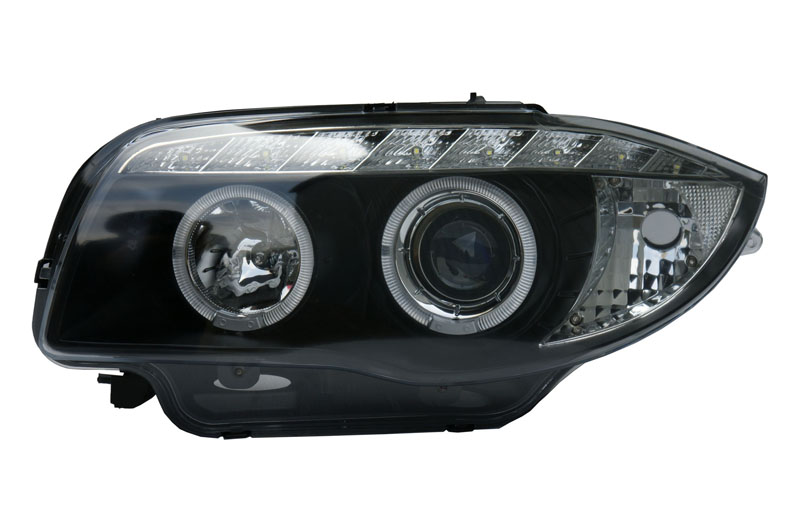 BMW 1 SER (07-12) HALO RING DRL HEADLIGHTS - Black