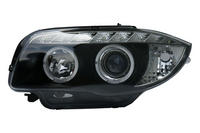 BMW 1 SER (07-12) HALO RING DRL HEADLIGHTS - Black