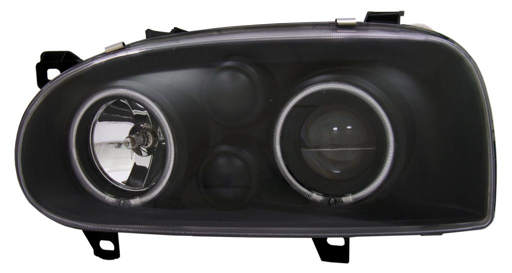 projector headlights lhd ccfl angel eyes clear black pair. Black Bedroom Furniture Sets. Home Design Ideas