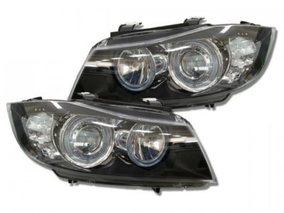 View Item BMW 3 Series E90 E91 05-08 BLACK ANGEL EYE Headlights With LED Indicators