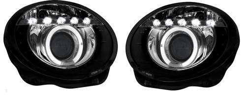 Fiat 500 08 Black Led Angel Eye Drl Projector Headlights