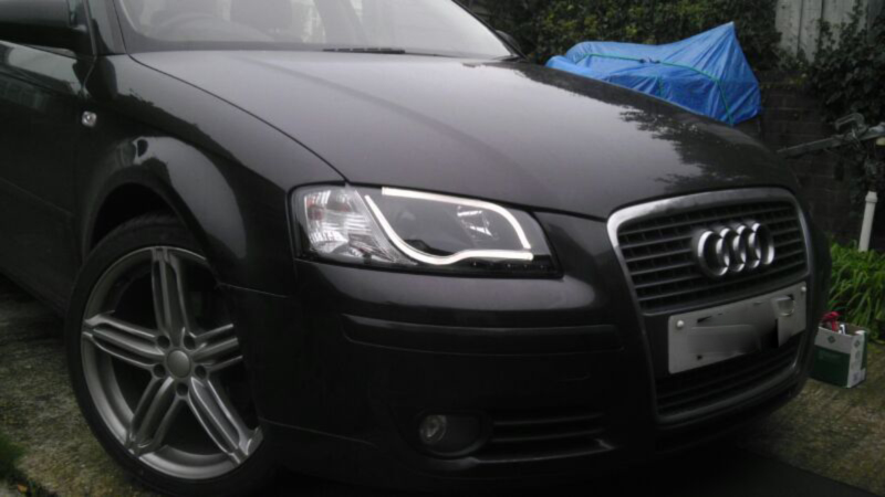 Audi A3 8p 03 08 Black Lightbar Style Drl Projector