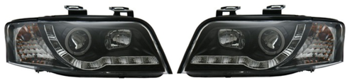 AUDI A6 01-04 DRL HEADLIGHTS - BLACK/CHROME [Image 2]