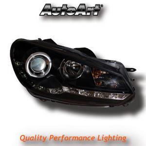 VW Golf MK6 09-13 Black DRL Headlights