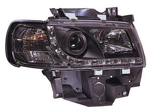Black DRL-look Devil Eye (Audi R8-style) Headlights to fit: VW T4 Caravelle/Eurovan (1997 to 2003) Preview