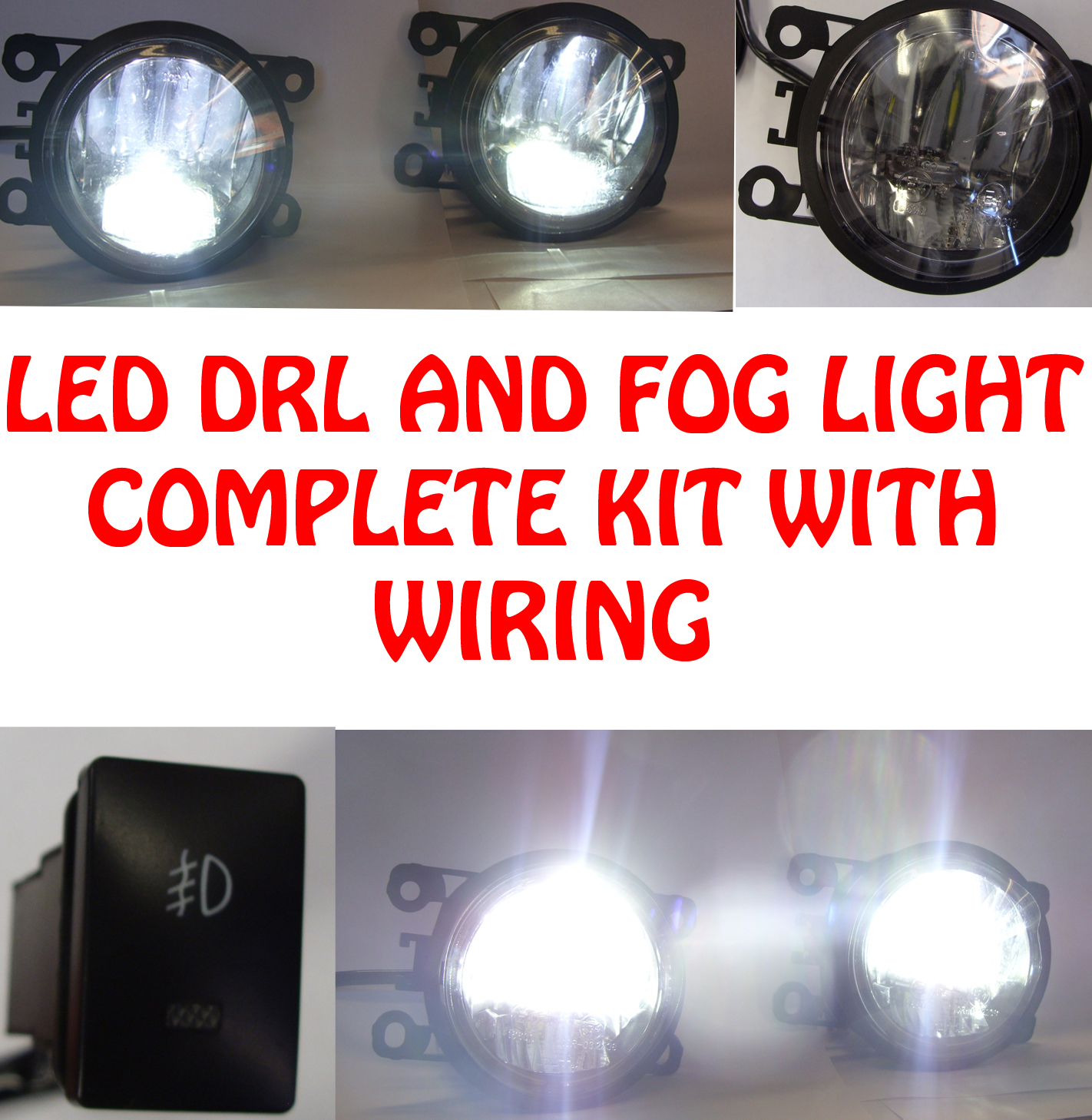 high power led drl and fog lights with wiring and switch Waterproof LED Switch Wiring Diagram Wiring LED Switch PC Drawing