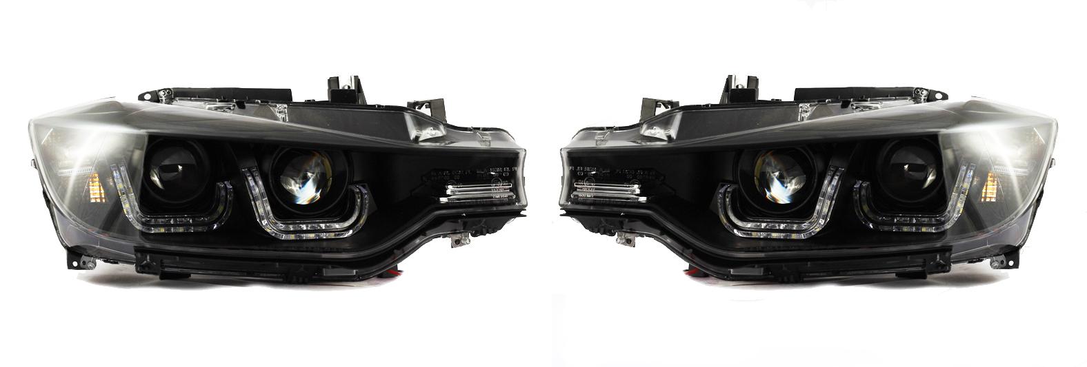 bmw 3er f30 f31 2011 schwarze led drl doppel u scheinwerfer projektor ebay. Black Bedroom Furniture Sets. Home Design Ideas