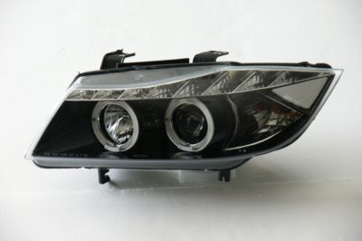 View Item BMW 3 Series E90 E91 05-08 BLACK ANGEL EYE Projector Headlights