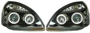 RENAULT CLIO 01-05 ANGEL EYES HEADLIGHTS - BLACK [Image 2]