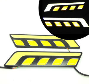 PAIR COB LED XENON WHITE & YELLOW INDICATOR DRL LIGHTS 7W 12V BRIGHT! Preview
