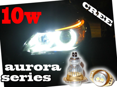 View Item 10W CREE Aurora Series Angel eye LED upgrade units 3 SERIES E90 E91 05-08 6000K