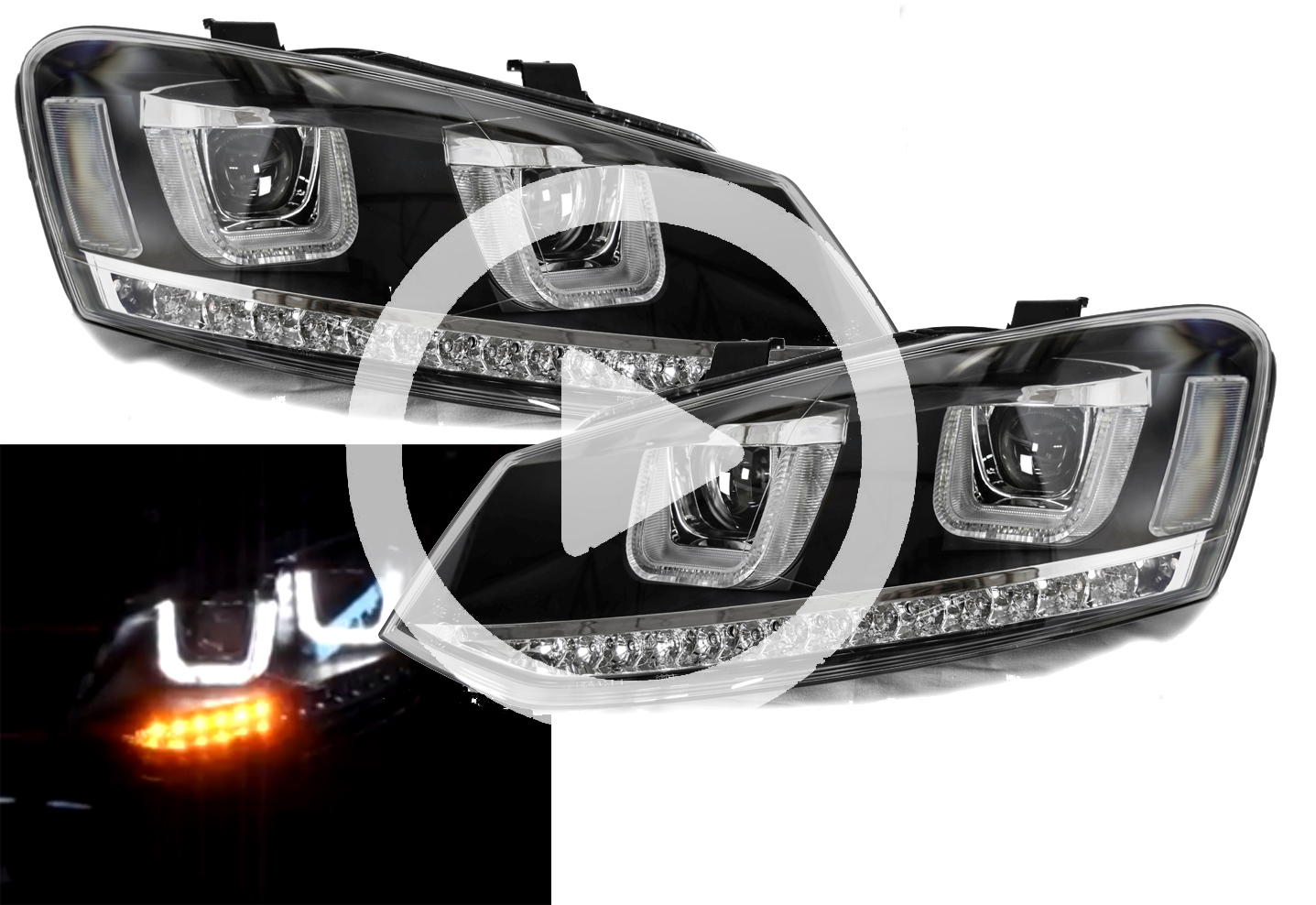 rhd vw polo 6r 09 14 black drl led projector headlights. Black Bedroom Furniture Sets. Home Design Ideas