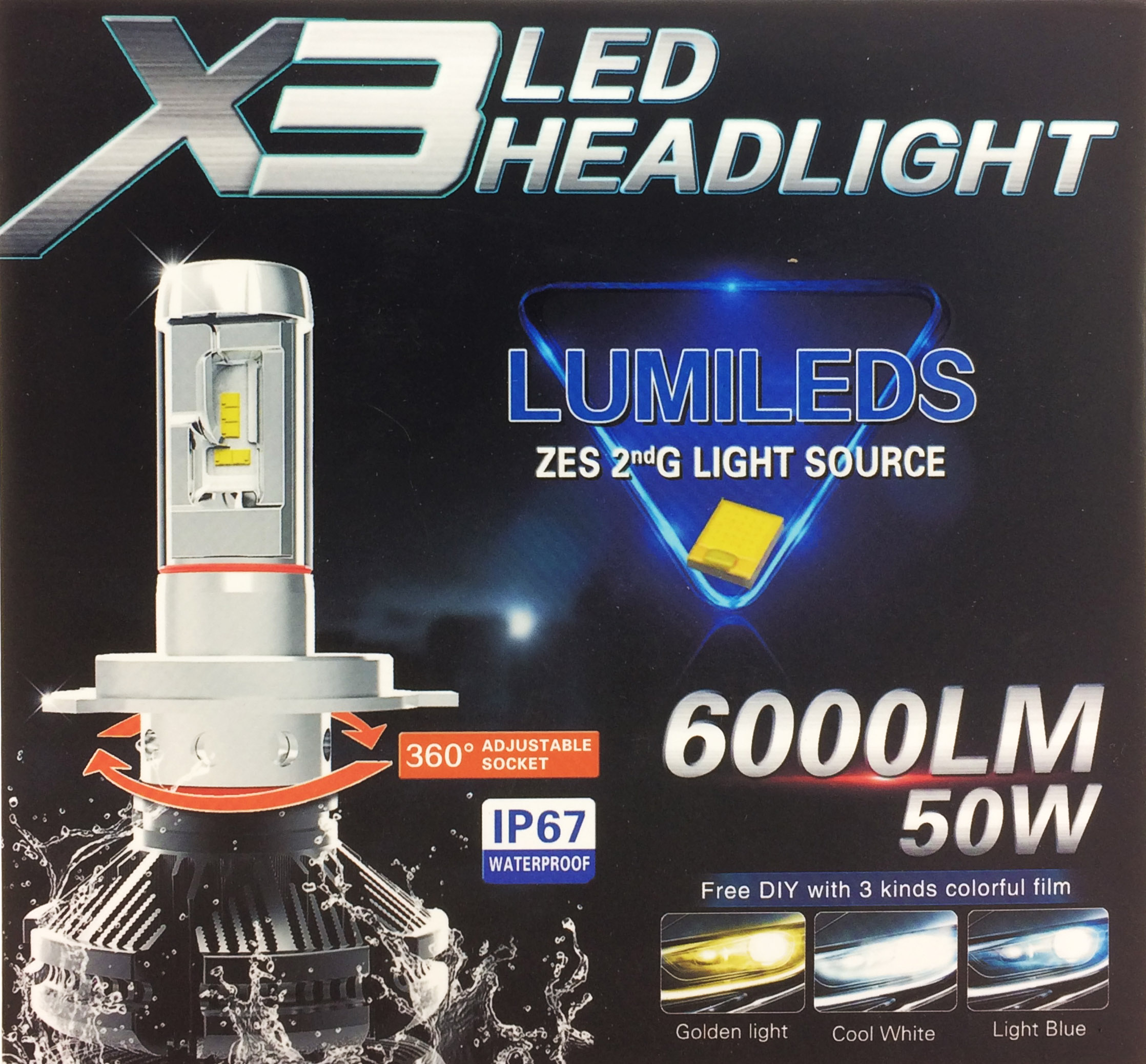 h4 50w philips lumileds led headlight bulbs kit canbus peugeot 306