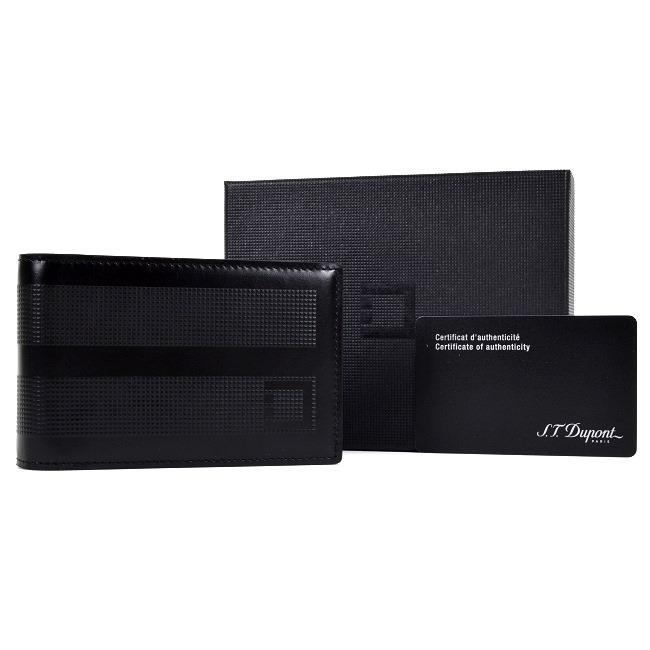 St dupont black leather business card holder 086102 ebay for Black leather business card holder