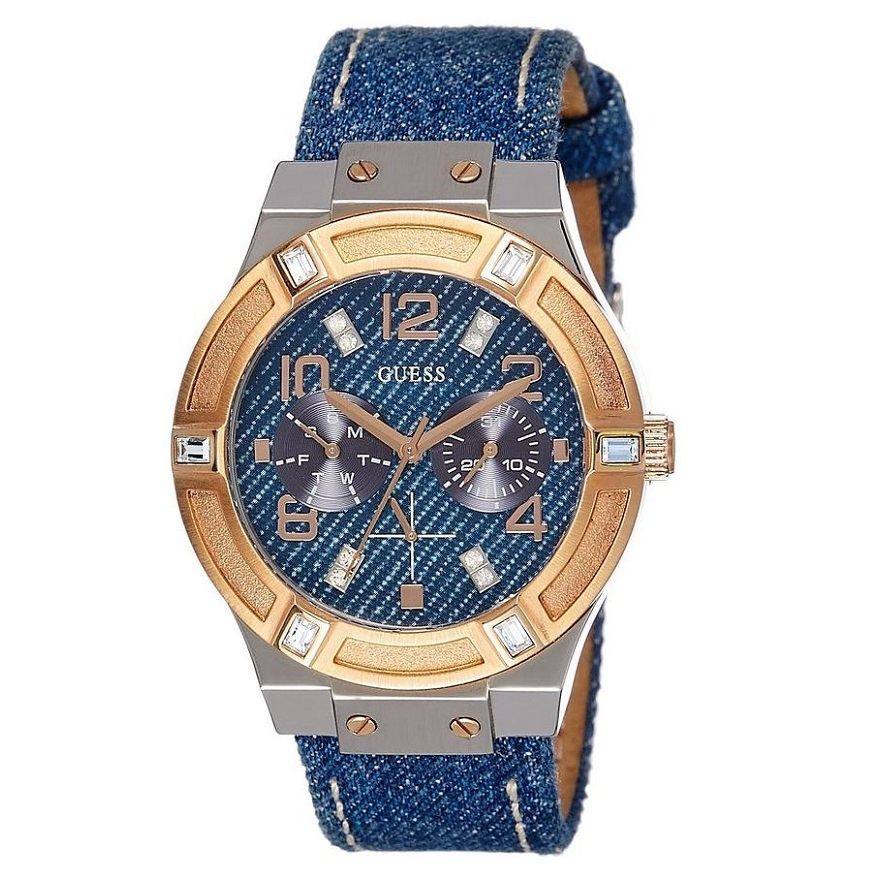 Guess Ladies Blue & Rose Gold Jet Setter Analog Watch ...