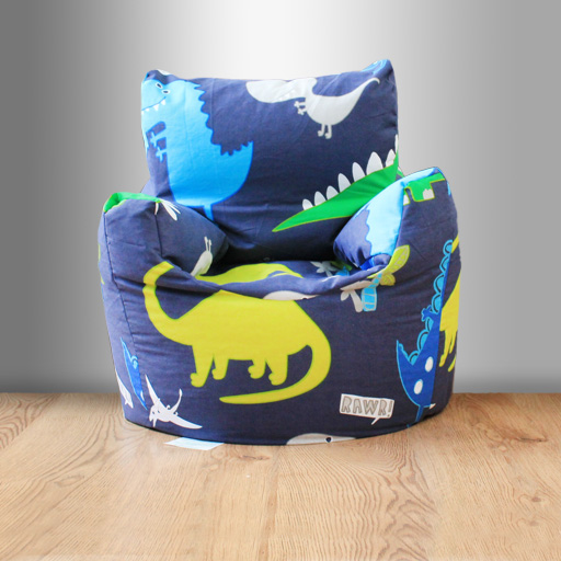 Childrens Beanbag Chair Dinosaurs Blue Boys Kids Bedroom