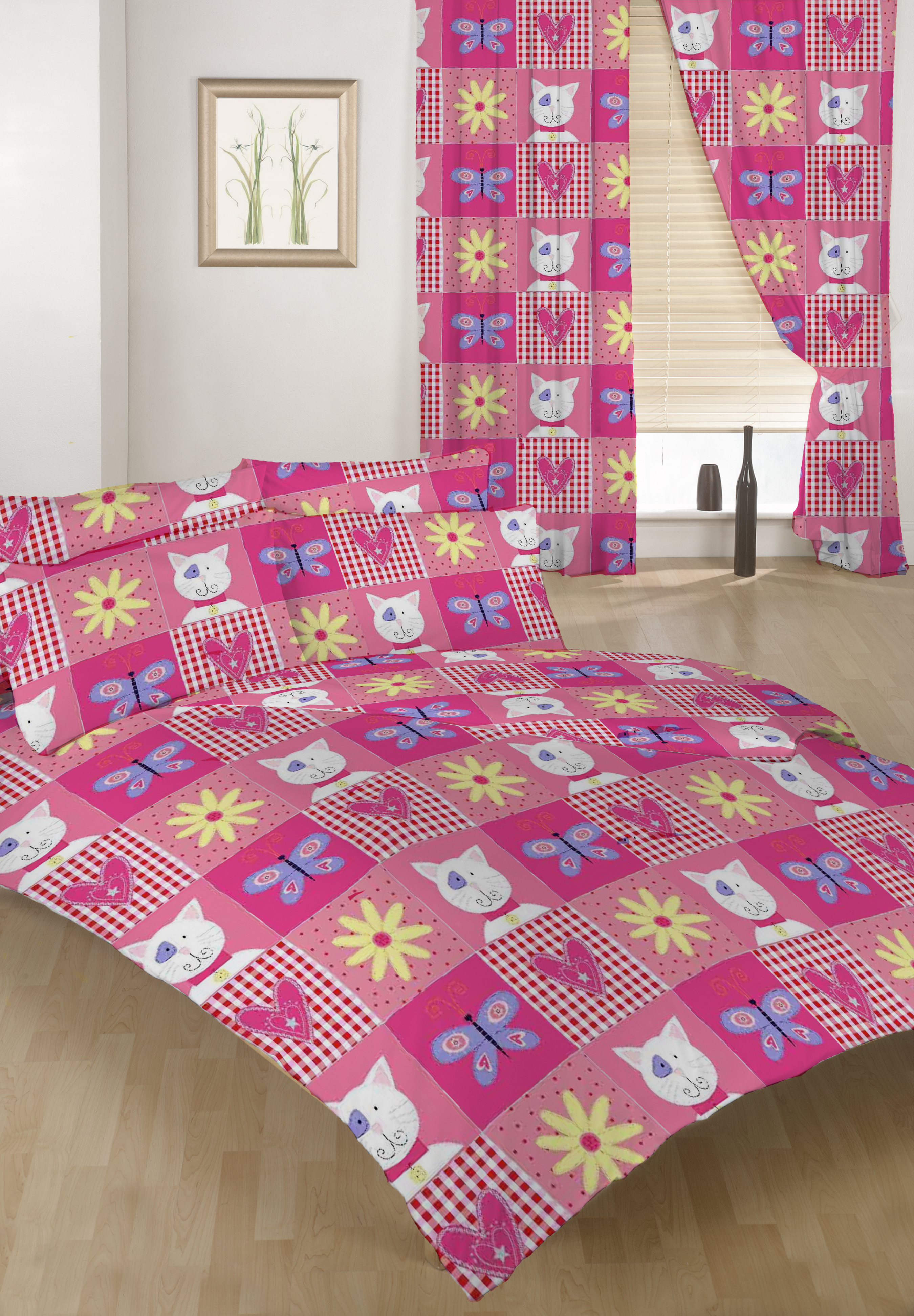 Double Bed Duvet Cover Set Kitty Patchwork Cat Girls 2