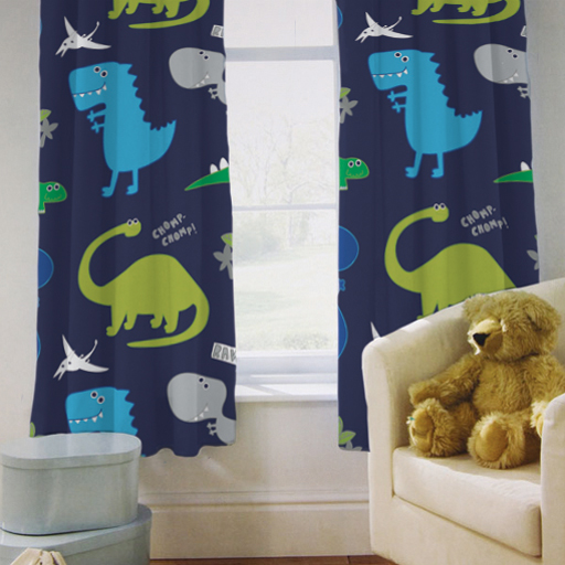 Childrens Kids Curtains Dinosaurs Blue Boys 66 By 54