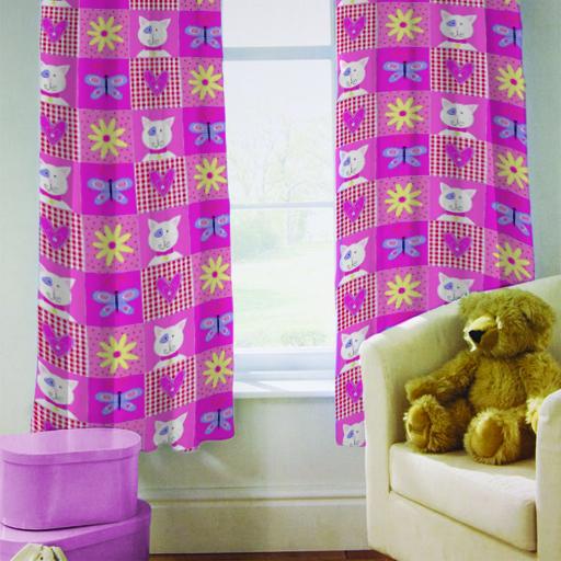 pour enfants rideaux de chambre kitty patchwork chat filles 167 6cm par 182 9cm ebay. Black Bedroom Furniture Sets. Home Design Ideas